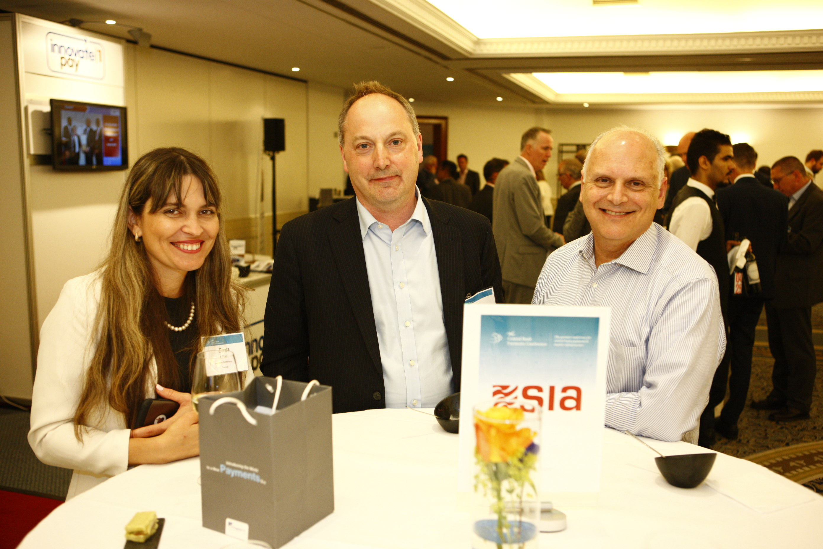 Elena Litani, nanopay Director (left), Paul Chilcott, Advisor to the governor, Bank of  Canada (middle), Lawrence M. Sweet, Senior Vice President, Federal Reserve Bank of New York (right)